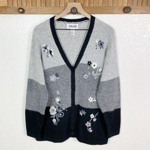 Vintage Silk Blend Color Block Embroidery Cardigan